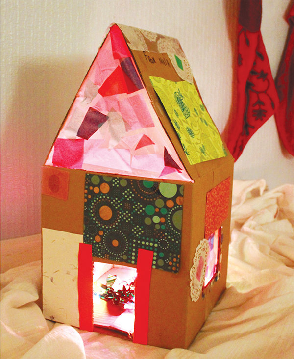 Lighted Cardboard Dollhouse