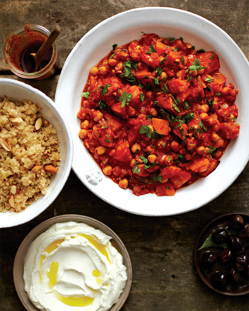 Spicy Chickpea Stew and Quinoa Pilaf with Golden Raisins and Almonds