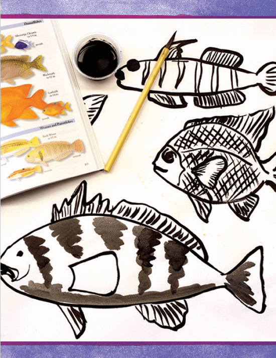 Activity: Expressive Black and White Fish from Draw, Paint, Sparkle